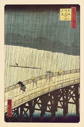 hiroshige bridge rain