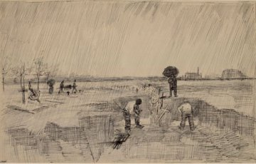 Vincent van Gogh: Grave Digging in the Regen Cemetery (1890)