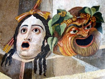 Tragedy & Comedy from Hadrian's Villa, Tivoli, Italy.